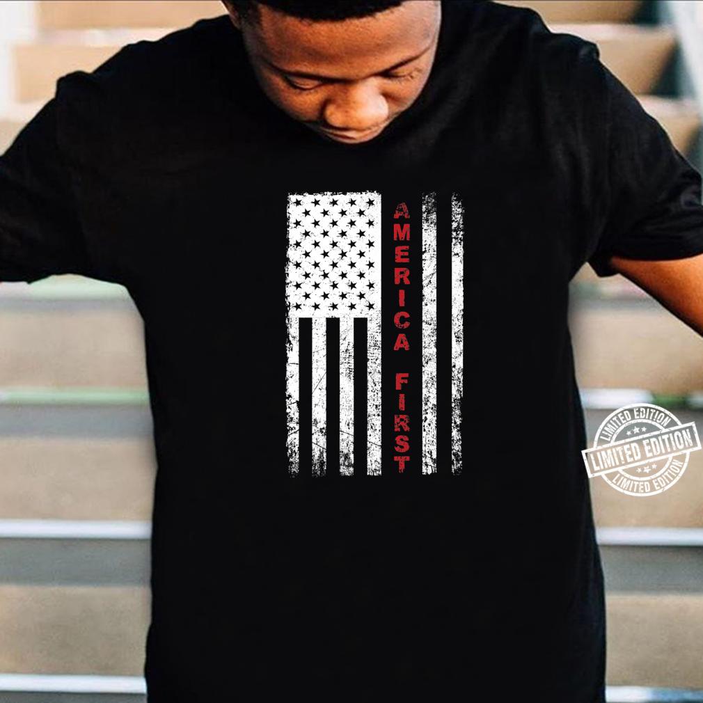 America First Pro Trump Proud American USA Flag Shirt