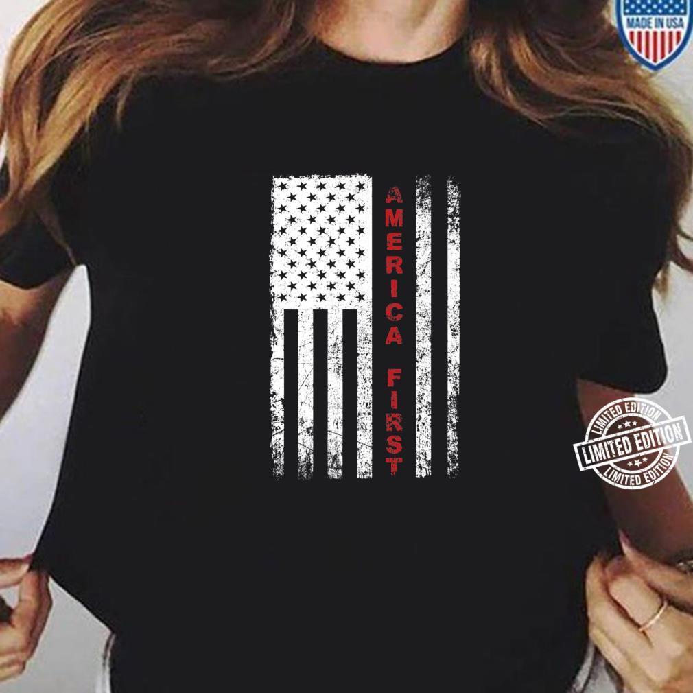 America First Pro Trump Proud American USA Flag Shirt ladies tee