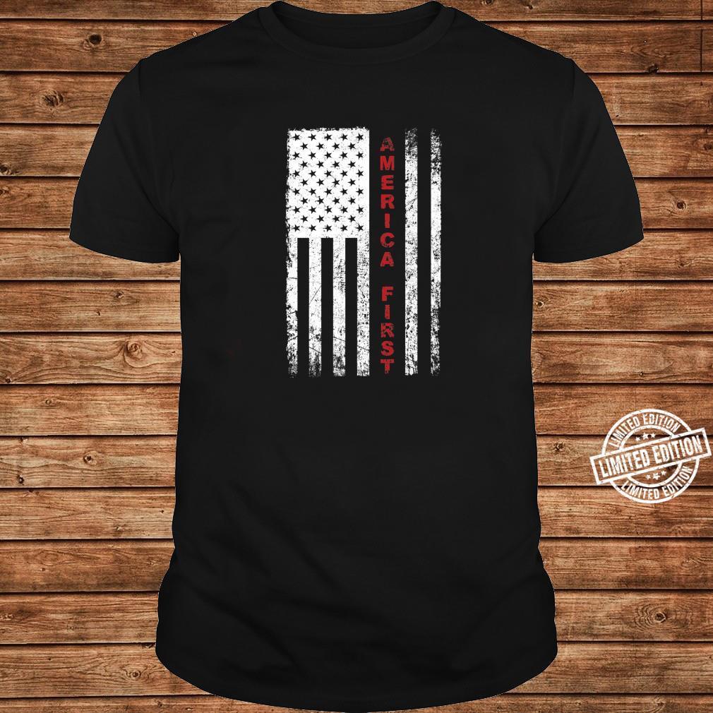 America First Pro Trump Proud American USA Flag Shirt long sleeved
