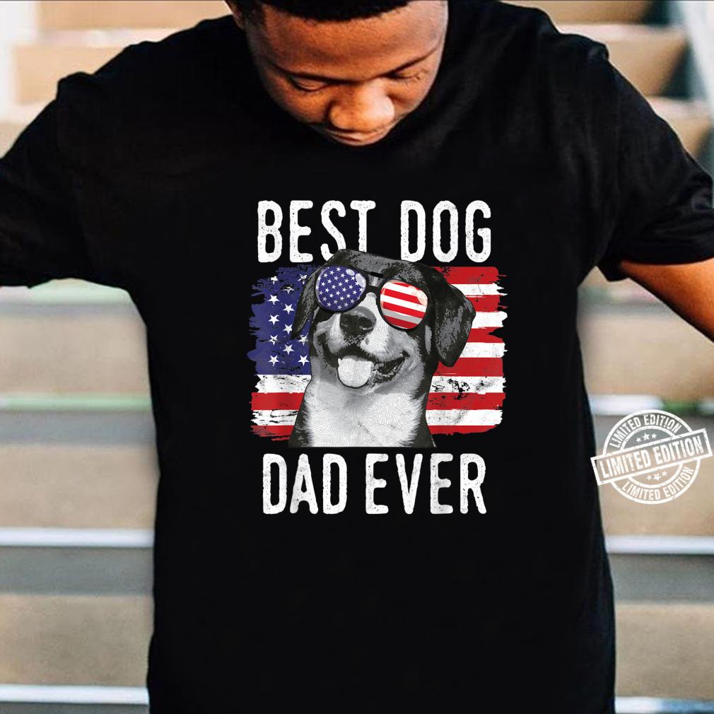 American Flag Best Dog Dad Ever Entlebucher Mountain Dogs Shirt