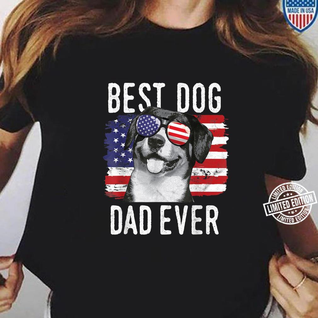 American Flag Best Dog Dad Ever Entlebucher Mountain Dogs Shirt ladies tee