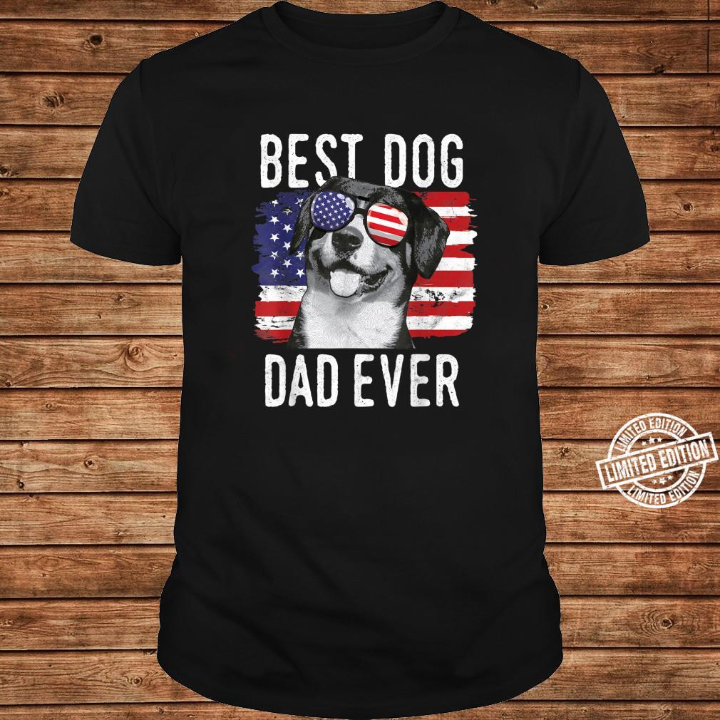 American Flag Best Dog Dad Ever Entlebucher Mountain Dogs Shirt long sleeved