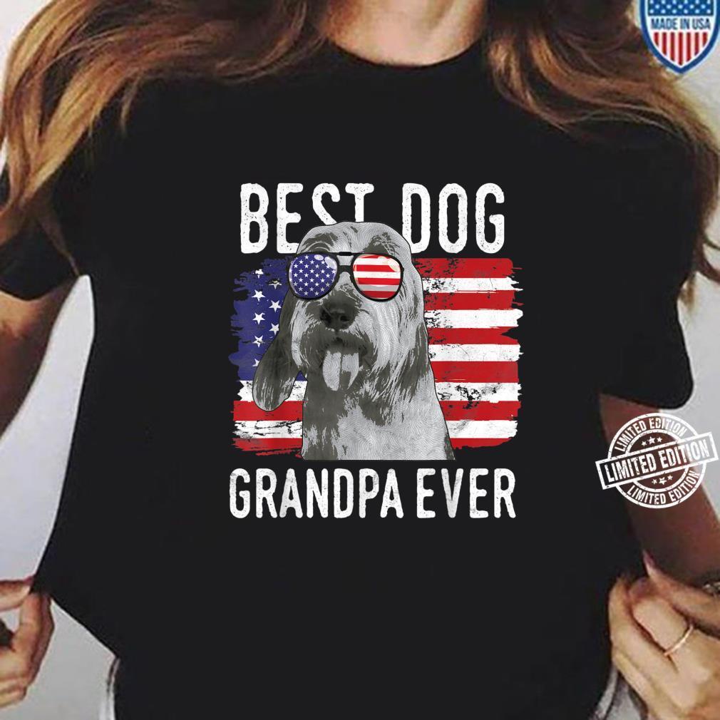 American Flag Best Dog Grandpa Ever Bassets Griffons Vendeen Shirt ladies tee
