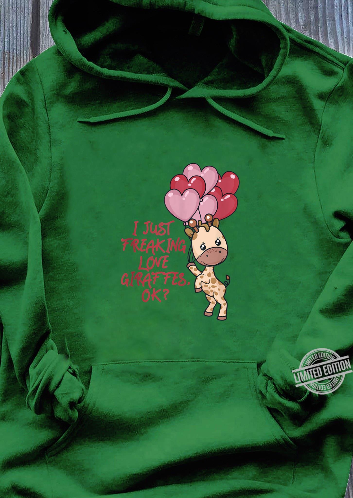 I Just Freaking Love Giraffes Ok Adult Mens Casual Long Sleeve Hoodie T Shirt