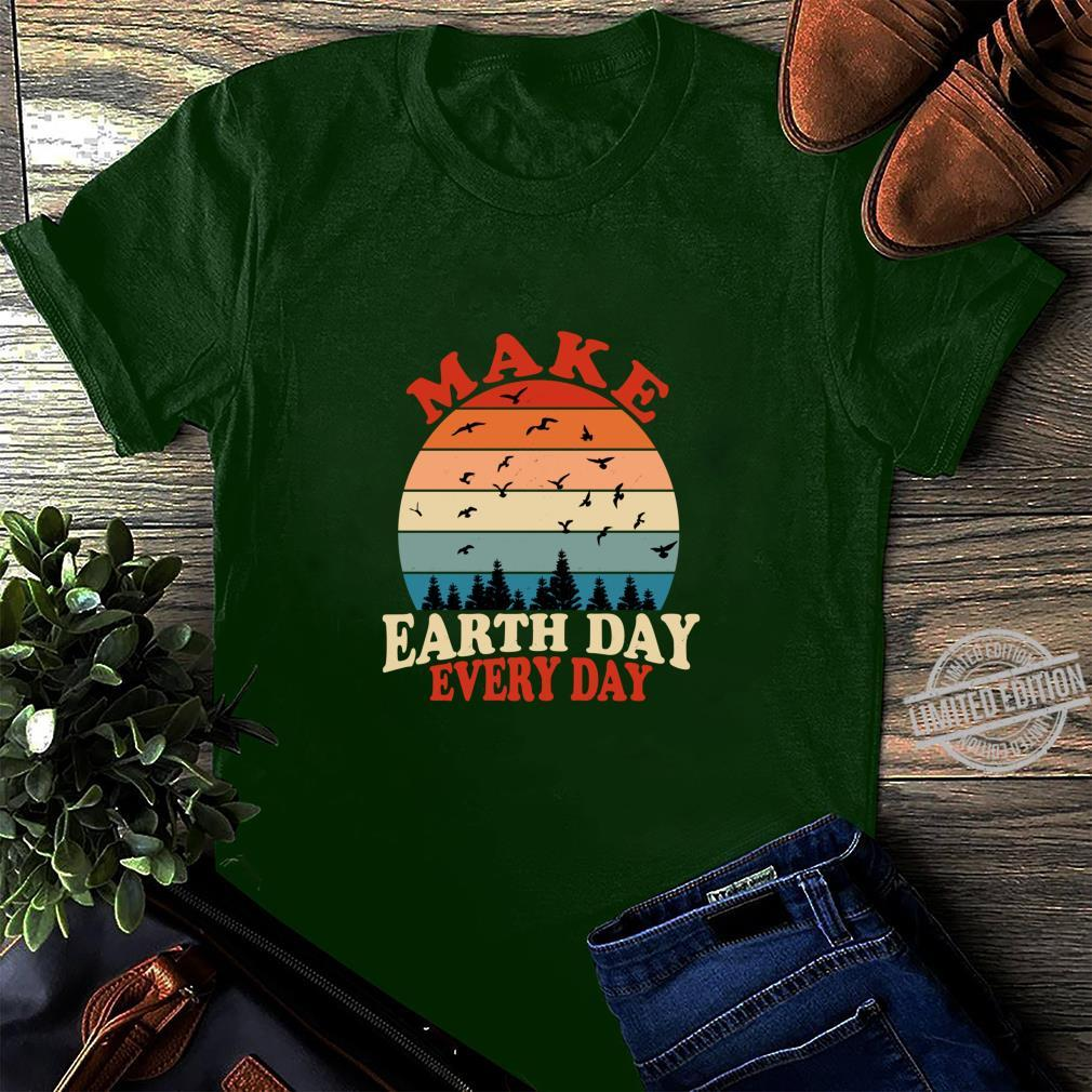 Make Earth Day Every Day Retro Vintage Forest April 22nd Shirt long sleeved