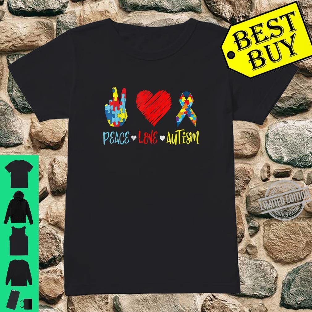 PeaceLoveAutism Shirt Autictis Autism Awareness Shirt ladies tee