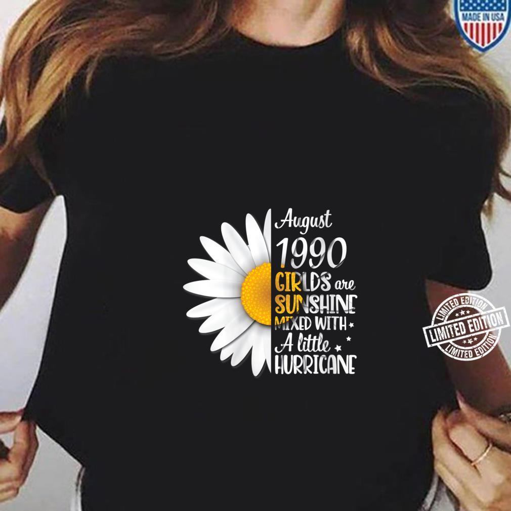 Womens August 1990 Girls Are Sunshine Mixed With A Little Hurricane Shirt ladies tee